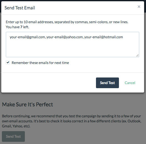 Sending a Test Email