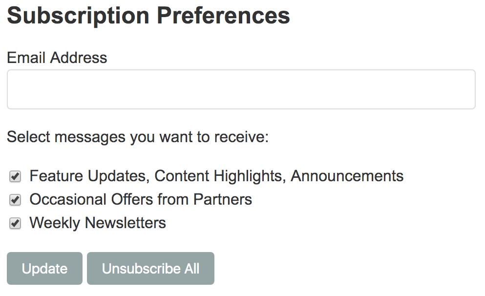 Example: unsubscribe page with preferences format