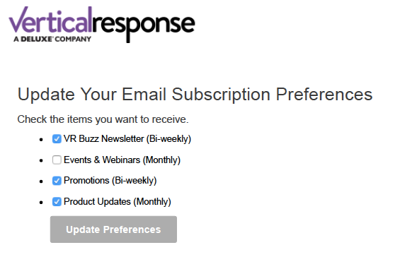 VerticalResponse old unsubscribe page
