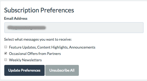 Multi interest unsubscribe
