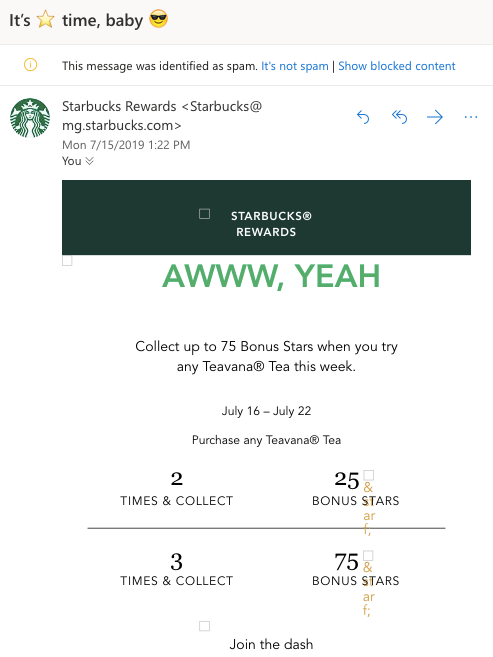Starbucks email in spam folder