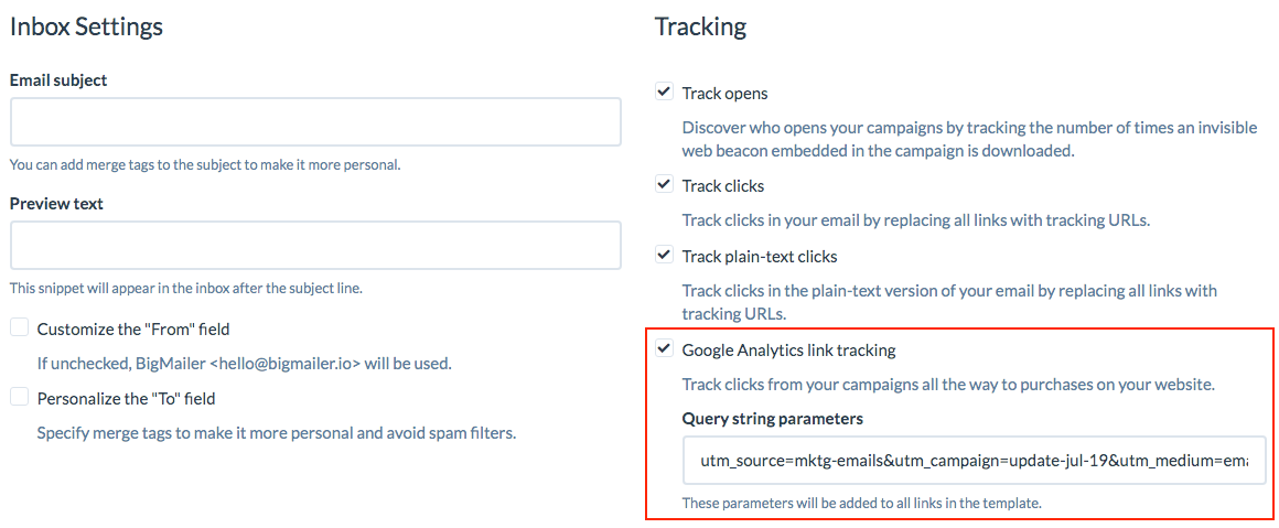 Google Analytcs utm parameters tracking