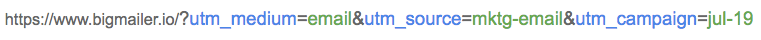 Example: URL with utm parameters for tracking a link in an email