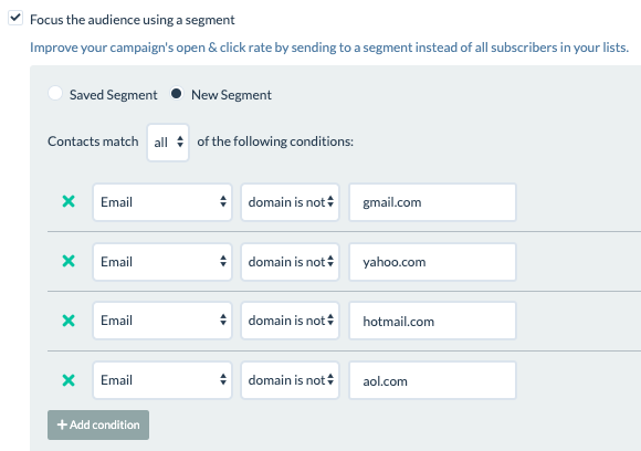 segmentation based on email domain