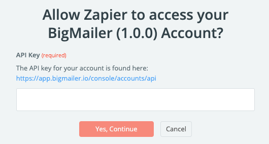 Zapier: authorize BigMailer with API Key