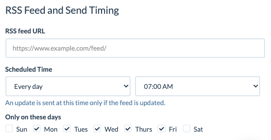 RSS to Email - daily schedule example