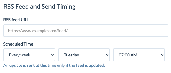 RSS to Email - weekly schedule example