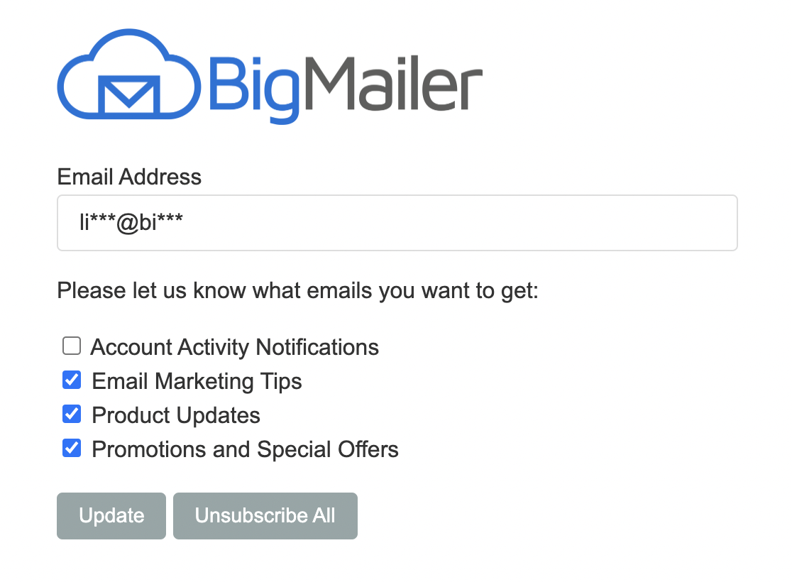 BigMailer unsubscribe page